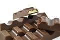 Bunch chocolate bars white background Stock Photos