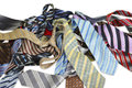 Bunch of colored ties against white background. Royalty Free Stock Photos