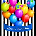 Bunch of colorful birthday balloons and color buntings flags on striped background. Vector. Royalty Free Stock Photo