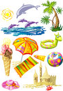 Bunch of colorful sea holiday stuff Stock Photos