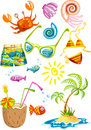 Bunch of colorful sea holiday stuff Royalty Free Stock Photo
