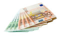 Bunch euro banknotes over white background Stock Photo