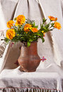 Bunch of flowers in a vase Stock Image