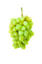 Bunch of green grapes isolated on white Royalty Free Stock Photo
