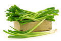 Bunch of green onions in a wooden crate Stock Photo