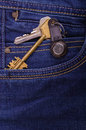 Bunch of keys in the pocket jeans Royalty Free Stock Images