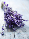 A bunch of lavander flower on wooden table Stock Photo