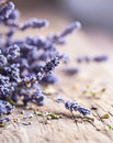 Bunch of lavender flowers on old wood table Royalty Free Stock Images
