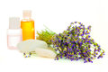 A bunch of lavender flowers on a white background with oil Royalty Free Stock Photo