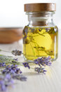 Bunch of lavender and lavender oil Royalty Free Stock Photo