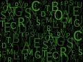 Bunch of letters wallpaper a at green and black background Stock Image