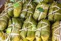 Bunch of mush thai dessert style which insert banana inside to glutinous rice Royalty Free Stock Image