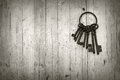 Bunch of old keys on wooden background black and white Royalty Free Stock Photography