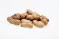 Bunch of peanuts on white background Royalty Free Stock Images