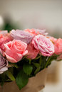 Bunch of pink roses close up a outdoors Stock Photo