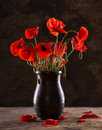 Bunch of poppies in vase on a wooden background Royalty Free Stock Image
