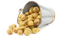 Bunch of potatoes in an old enamel bucket on a white background Royalty Free Stock Images