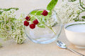 Bunch of raspberries in a glass bowl wild flowers and tea cup Royalty Free Stock Photos