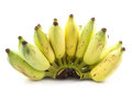 Bunch raw bananas white Royalty Free Stock Photos