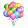 Bunch of realistic colorful helium balloons isolated on white Royalty Free Stock Photo