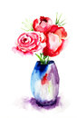 Bunch of red rose flowers watercolor painting Royalty Free Stock Photography