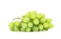 Bunch of ripe and juicy green grapes close up on a white background Stock Photos