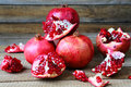 Bunch of ripe pomegranate food closeup Stock Photo