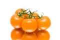 Bunch of ripe tomatoes on a white background with reflection close up horizontal photo Royalty Free Stock Photography