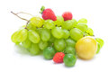 Bunch of white grapes,plum and strawberries