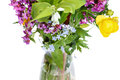 Bunch of wild flowers in glass vase Royalty Free Stock Photo