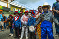 A bunch of young boys dressed as minstrels at Carnival time