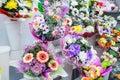 bunches of big fresh orange pink red gerbera chamomile and big white yellow blue chrysanthemum flower Royalty Free Stock Photo