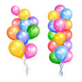 Bunches of colorful helium balloons isolated on white background Royalty Free Stock Photo