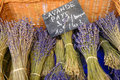Bunches of lavender in a wicker basket for euros per bunch or euros for on sale in a market in provence france Royalty Free Stock Image