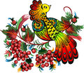 Bunches of rowan and fabulous bird the illustration shows a beautiful against the background a mountain ash branches Royalty Free Stock Image