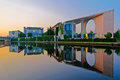 Bundeskanzleramt berlin germany in with reflection in spree river at sunrise Stock Photo