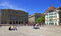 Bundesplatz square in bern switzerland may tourists and students rest on the on may the is the Stock Images