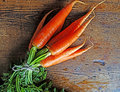 Bundle of carrots on wooden background Royalty Free Stock Image