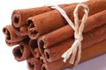 Bundle of cinnamon sticks closeup isolated on white background Royalty Free Stock Photo