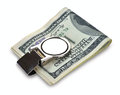 Bundle of 100 dollars bank notes fasten with money clip Royalty Free Stock Photo