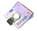 Bundle of euro bank notes fasten with money clip isolated on white backgroun Stock Photo