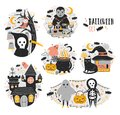 Bundle of Halloween scenes with funny and spooky cartoon characters - vampire, ghost, skeleton, grim reaper, pumpkin