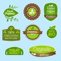 Bundle of labels for bio organic all natural food and eco friendly products set eight product in green brown white design stickers Royalty Free Stock Photo