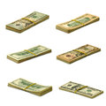 Bundle of money isolated image many dollars on white background Royalty Free Stock Photo