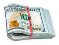Bundle of money isolated on a white background Royalty Free Stock Images