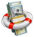 Bundles of 100 US dollar money banknotes in lifesaver buoy Royalty Free Stock Photo
