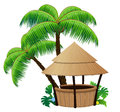 Bungalow bar and palm trees coconut palms on a white background Royalty Free Stock Photo