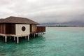 Bungalow at concrete pile maldives island Stock Image