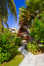 Bungalow in hotel at tropical beach Royalty Free Stock Photos