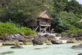 Bungalow house on the rock in cambodia koh rong island Royalty Free Stock Photos
